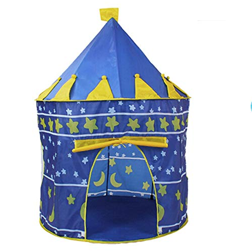 Tents Kids Teepee, Bedroom Yurt Girls/Boys Toy Play Portable Outdoor Baby's Toy Storage House - Playhouse (Color : Blue, Size : 105 * 105 * 135CM)