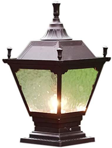 Lámpara de pared Retro Aplique, Lámpara de pared de jardín rústico de la vendimia Post impermeable IP44 E27 Café Oro Retro Lámpara de base cuadrada Lámpara de cristal Luz de poste Luz de poste Luz ext