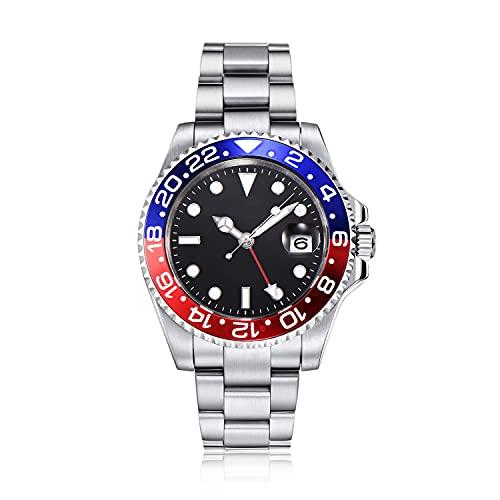 PARNIS by Collectors Club TW1003 GMT Automatikuhr 316L-Edelstahl Armbanduhr mit zweiter Zeitzone GMT Saphirglas 5BAR Wasserdicht