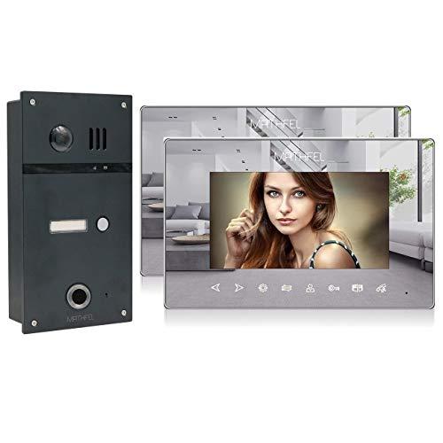 2 Draht Video Fingerprint Türsprechanlage Gegensprechanlage Fischaugenkamera 170 Grad Anthrazit Außenstation, Farbe: Anthrazit, Größe: 2x7'' Monitor Spiegel
