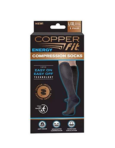 Copper Fit Knee-High Compression Socks 2-Pack (Black) Large/X-Large