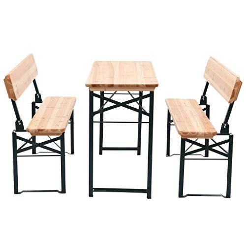 vidaXL Table et 2 Bancs Bois de Sapin Pliable Meuble de Jardin Mobilier Balcon