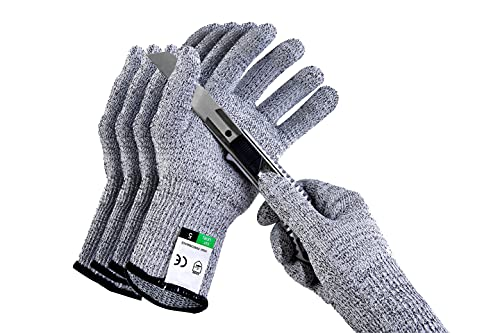 2Pairs(4PCS) Safe Cut Resistant Gloves High Performance Level 5 Pretection,Safety Kitchen Cut Gloves for Oyster Shucking,Meat Cutting,Fish Fillet Processing,Mandolin Slicing,and Wood Carving Safety Work Glove Mid Grey , Size M