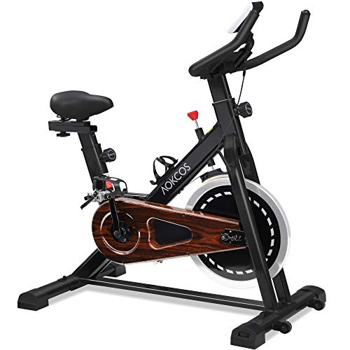 AOCKOS Indoor Cycling Bike, Stationary Exercise Bike with Magnetic Resistance, LCD Monitor&Comfortable Seat Cushion, XK1501MB