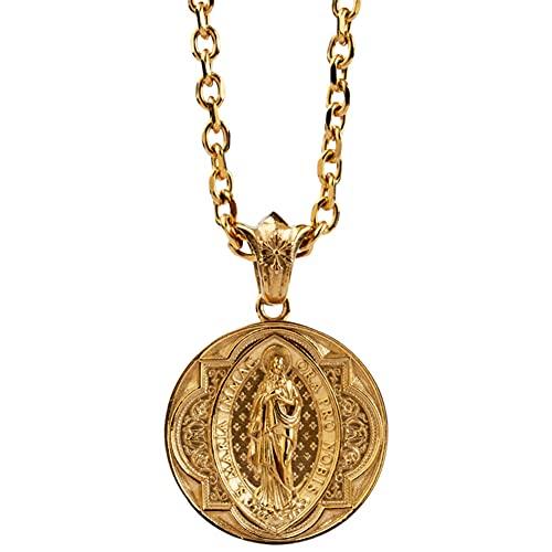 FLQWLL Forma Redonda Nuestra Señora De Guadalupe Collar con Colgante De La Virgen María Católica, Medalla De Acero De Titanio Religiosa Cristiana 70CM Joyería De Amuleto De Cadena,Oro