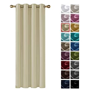 Deconovo Cortinas Salon Dormitorio Moderno Opacas Suaves para Ventanas de Color Liso 1 Pieza con Ojales 140 x 260 cm Beige Oscuro