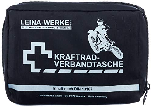 LEINA-WERKE REF 17010 Leina Kraftrad-Verbandtasche, Inhalt DIN 13167, schwarz