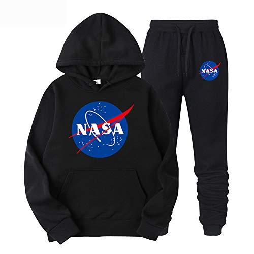 CTOOO Herren Damen NASA Druck Kapuzenpullover und Hosen 2 Sets, Paar Hoodie Sweatshirt und Pants S-XXL (M,schwarz)