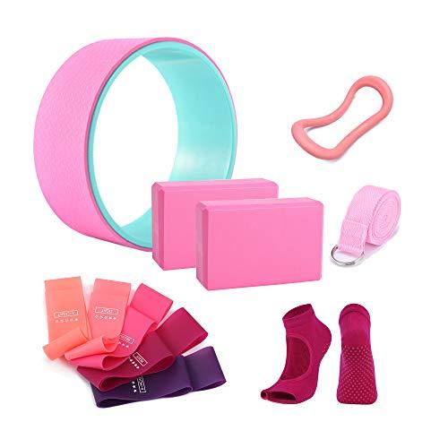 keefee 11 pcs Yoga Starter Sets,Yoga Accessories Kit for Beginners,Yoga Essentials Equipment Kit Include Fitness Yoga Pilates Ring Wheel Stretch Belt Yoga Foam Blocks Strap and Socks (Pink)