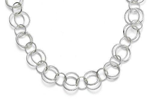 Sterling-Silber 925 doppelt gedreht geschliffen Manschettenknöpfe-JewelryWeb Halskette 42 cm
