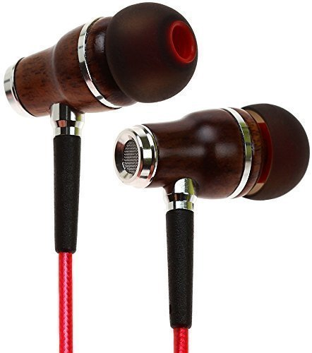 Symphonized NRG 2.0 Wood Earbuds Wired, in Ear Headphones with Microphone for Computer & Laptop, Noise Isolating Earphones for Cell Phone, Ear Buds with Booming Bass (Lava Red)