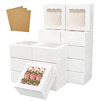 Colovis 30 Pcs White Bakery Boxes with Window 6 X 6 X 3 Inches White Paperboard Treat Boxes for Cookies Pastry Cookies Strawberries Macarons