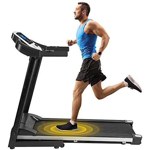 Folding Treadmill for Home Running Machine with Device Holder, Bluetooth, Speakers, LCD and Pulse Monitor, 300 LB Weight Capacity