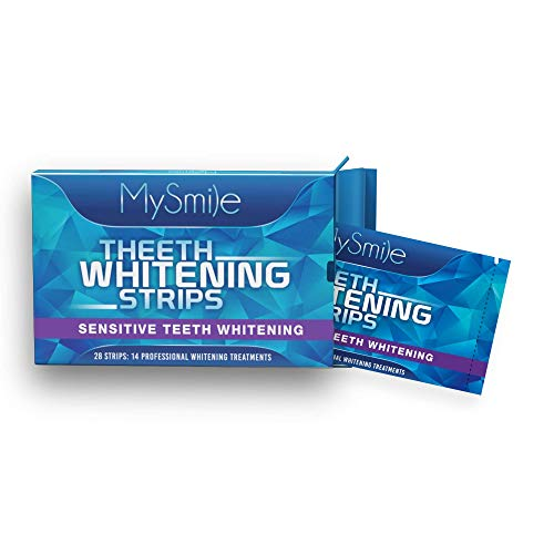 MySmile Teeth Whitening Strips Teeth Whitener, Removes Stains from Coffee, Tea and Smoking Tobacco 14 Professional Treatments, Pack of 28 Strips for Teeth Whitening