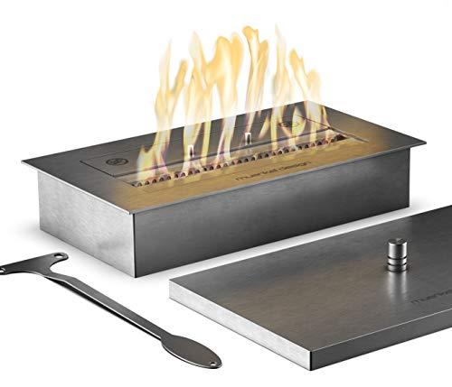 muenkel design Safety Burner 405 – manueller Brenner Einsatz – Bio-Ethanol Brennkammer mit 30 cm Flammenbreite – Edelstahl, gebürstet