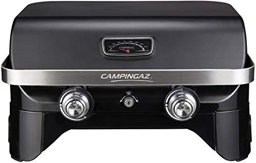 Campingaz Attitude 2100 LX Gasgrill, tragbarer Tischgrill, 2 Stahlbrenner, 5 kW Leistung, Camping Gasgrill mit Deckel, Thermometer und Gusseisen-Grillrost