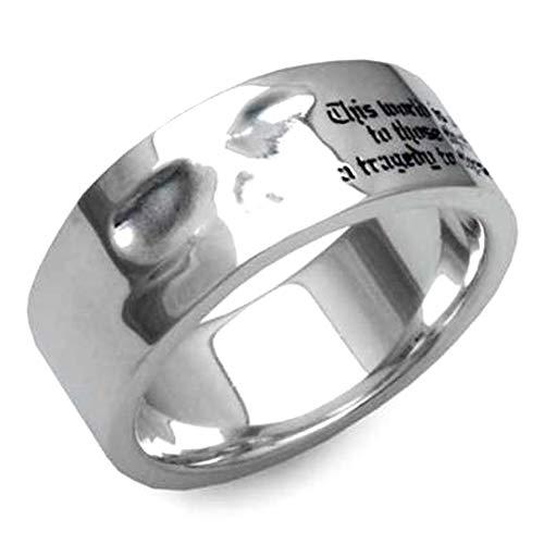 [ドクターモンロー]Dr MONROE フロースカル メッセージ リング (16号) 指輪 メンズ シンプル ロック ドクロ 骸骨 シルバー 925 いぶし