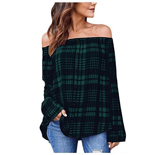 WELCO - Camiseta de manga larga para mujer, diseo de cuadros Vert2071 5X-Large