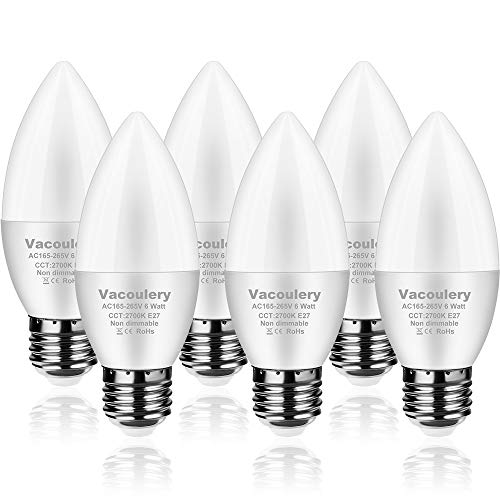 Bombillas LED Vela Forma de Vela E27, 6PCS 6W Equivalente a 50W, CRI> 80 Blanca Cálida 2700K 400 Lúmenes No Regulable[Clase de eficiencia energética A+]