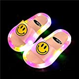 Perferct Zapatillas de casa para Mujer Cerradas,Niños LED LED Luminoso Jelly Jelly Girls Slippers PVC Cartoon Smile Beach Sandals Niños Home Chrysanthemum Patrón-Rosa Cara Sonriente_33