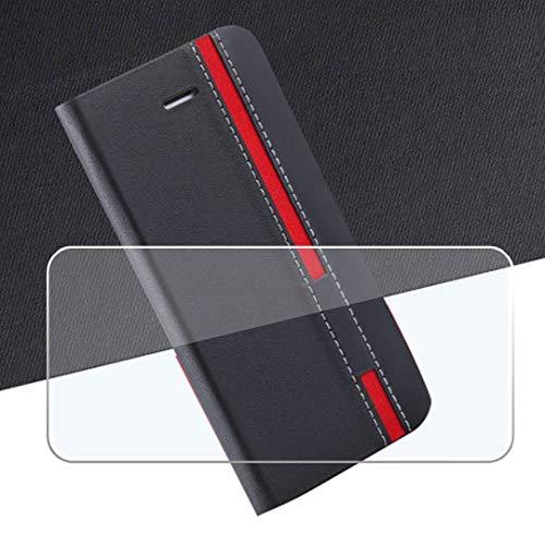 QFSM Negro Flip Case + Cristal Templado Pantalla Funda para Blackview BV5500 Pro Funda de Cuero Protector Bookstyle Purse Wallet Shell with HD Película Protectora Cristal
