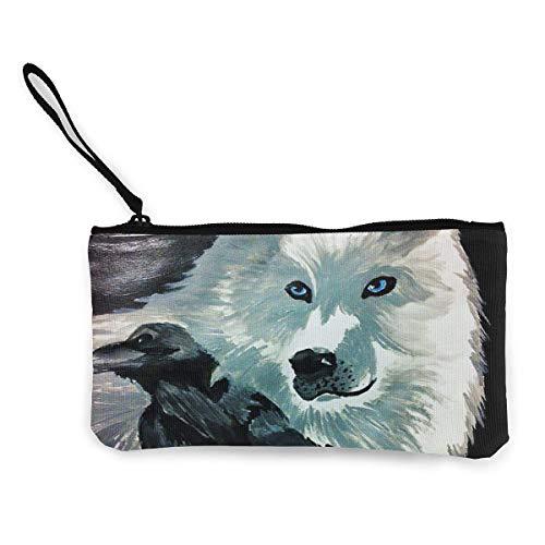 Yuanmeiju Monedero Unisex El Lobo y el Cuervo Monedero de Lona Monedero Tarjeta para teléfono móvil con asa y Cremallera