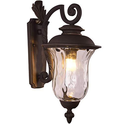 Vintage Außen-Wandleuchte | Außenwandleuchte | Aussenleuchte Wand | Wandlampe Aussen in Alu aus Glas | Spritzwassergeschützt | Außenbeleuchtung Wand für Hauswand, Terrasse, Hof, Flur