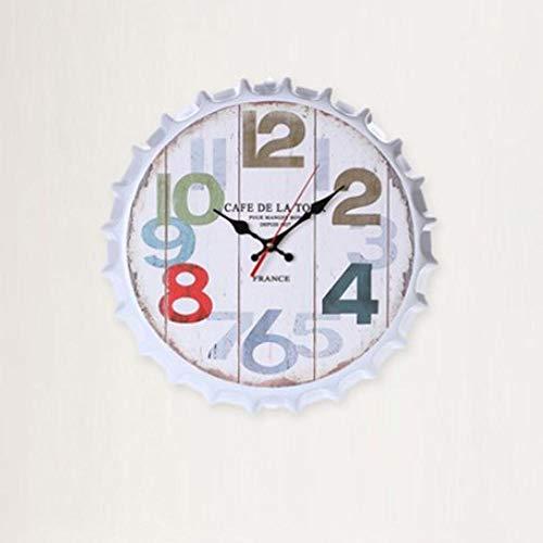 XXNZZJ Co.,ltd Reloj de Pared Retro con Tapa de Botella de Cerveza, Reloj de Pared de Metal Duradero, Reloj de Aguja, Silenciosamente, Sala de Estar, Dormitorio, decoración, Relojes de Pared