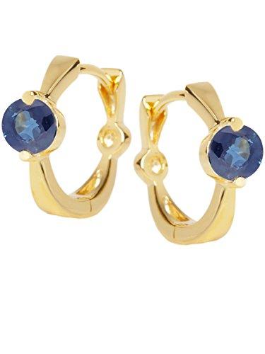 MyGold saffier creolen geelgoud 585 goud (14 karaat) met edelsteen Ø 10 mm mini glans dames oorbellen gouden creolen Peach Beauty C-04241-G401-SAP-blauw