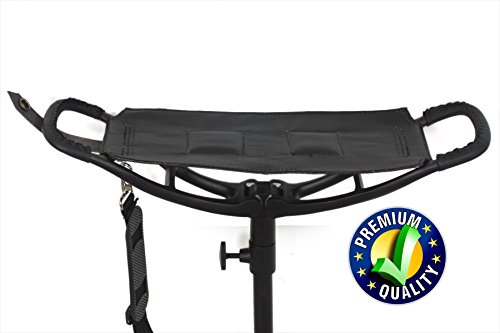 Bâton de siège pliable en cuir noir de qualité