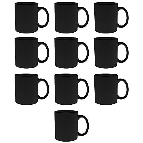 Ceramic Coffee Mugs - Traditional 11 oz Mug - 10 pack - Cups Hold 11 Ounces of Hot Chocolate or Tea - Black