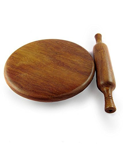 Wooden Chakla,Serving Board, Round Chapati Chakla, Perfect for Making Chappati at Home, Wooden Roti/Chapati Maker, Wood Rolling Board and Rolling Pin Set (Chakla Belan)