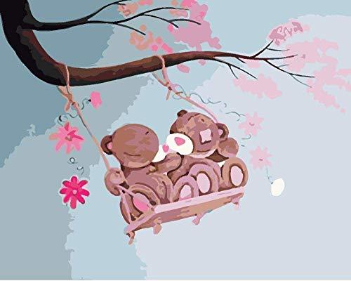 DIY Olieverfschilderij van Nummers Kits, Canvas Olieverfschilderij voor Volwassenen en Tekenen Beginner met Borstels Twee Cartoon Bear Cubs Zittend op een Schommel