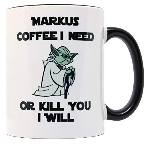 Your Photo Gift Tasse mit Namen Yoda Need Coffee Star Wars Fans Kaffeetasse mit Namen Personalisiert Two Tone Kaffee-Becher Weiß Schwarz Bedruckt Geschenk-Tasse