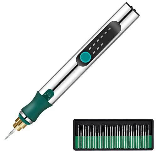 DIY USB Ricaricabile Incisione Macchine con 35 bits,Mini incisore Elettrico Incisore Penna Cordless Rotary Strumenti Incisi Gioielli Vetro Legno Pietra Metallo Plastica