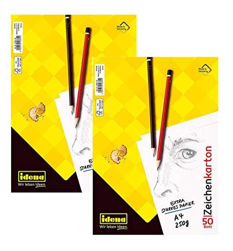 Idena 10384 Zeichenkarton, 50 Bogen, DIN A4, 250 g/m², FSC-Mix (2 Blöcke/Weiß)
