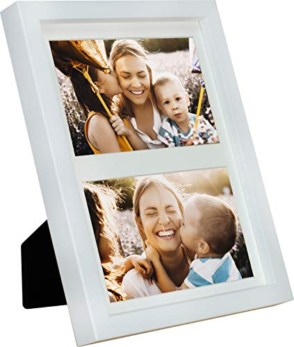 BD ART 17 x 23 cm Mehrfach Bilderrahmen, Bildergalerie, Fotogalerie mit Passepartout und 2 Foto-Ausschnitten für Fotos 10 x 15 cm, Weiß