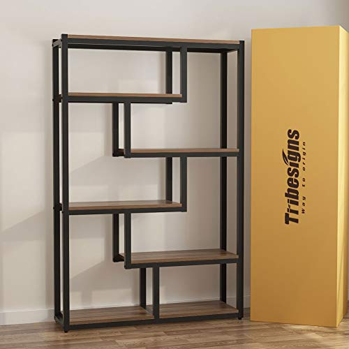 Tribesigns 5-Shelf Industrial Bookshelf, Vintage Etagere Bookcase, Storage and Display Shelves with Sturdy Metal Frame, Brown
