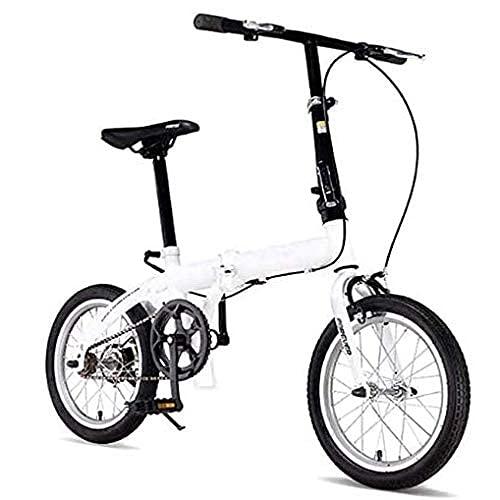 HUAQINEI Bicicletas Plegables para Hombres y Mujeres Adultos Bicicletas portátiles ultraligeras viajeros manubrios y Asientos Ajustables Marco de Aluminio de una Sola Velocidad de 16 Pulgadas, Gris