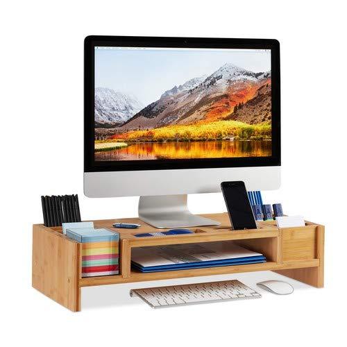 Relaxdays Monitorständer, Bildschirmständer aus Bambus, 14 Fächer, ergonomischer Monitorerhöher, HBT 15x65x28 cm, natur
