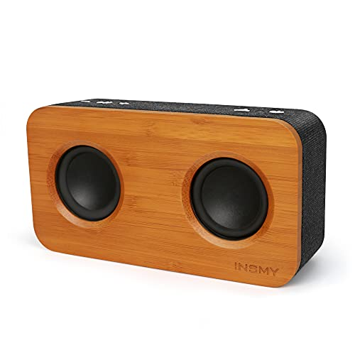 INSMY Retro Bluetooth Speaker, 20W Portable Wood Home Audio Super Bass Stereo with Woofers, Bluetooth 5.0 24H Playtime, Support TF Card Aux, Wireless Bookshelf Speaker for Party (Black&Bamboo)