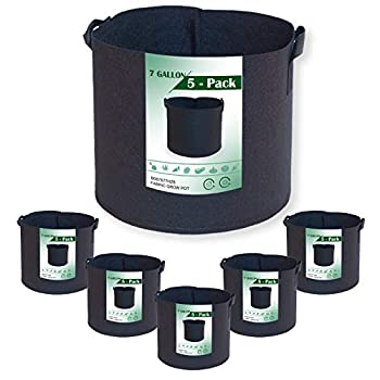 7 Gallon Grow Bags 5-Pack Thickened Non-Woven Aeration Planting Fabric Pot with 2 Handles Felt Fabric for Better Root System in Plant Growing  5 Black