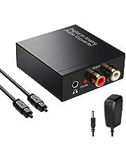 192KHz Convertidor Digital Analógico DAC Audio Óptico Coaxial(RCA) Toslink SPDIF de Audio Estéreo R / L y Jack 3.5mm con Cable Óptico y Cable USB DC/5V para PS4 Xbox BLU-Ray HDTV