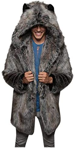 aihihe Mens Faux Fur Parka Outwear Winter Warm Thick Coat Jacket Wolf Cardigan Soft Plush Overcoat product image
