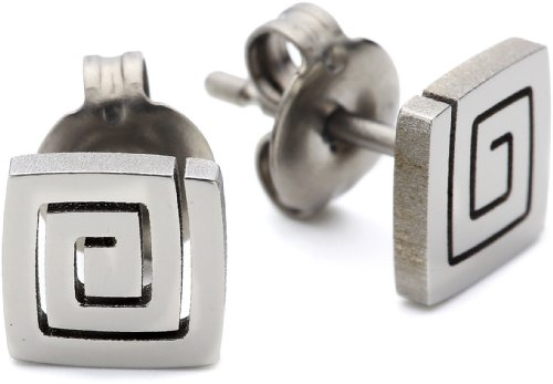 Pure Grey Signs No. 24316 Earring Studs Titanium Polished