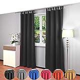Gräfenstayn® Alana - cortina térmica opaca monocromática que oscurece la cortina con bucles - 135 x 245 cm (ancho x alto) - muchos colores atractivos (Negro)
