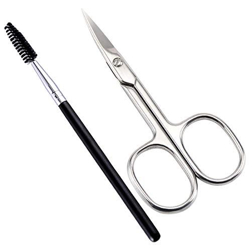 Lovinee Ciseaux à sourcils et pinceau à sourcils, forme courbée en acier inoxydable pour extensions de sourcils