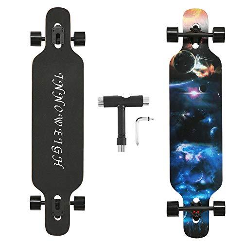INNOWEIGH 41 Zoll Longboard Skateboard Through Freestyle Longboard Komplett Drop Down Through Deck Cruise Profi Anfänger Longboard Blau