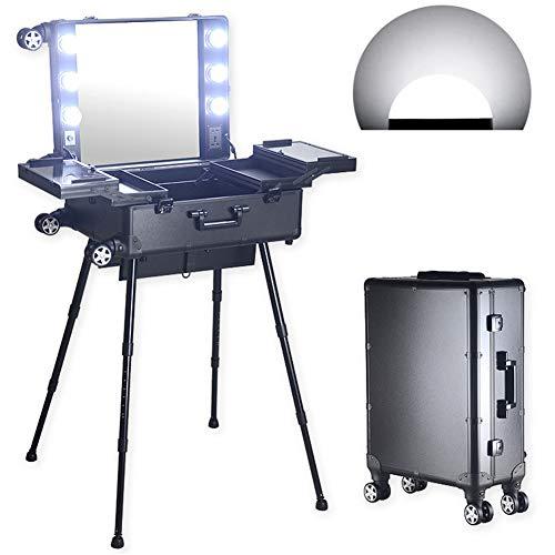 21 pouces Chariot Aluminium Maquillage Cas Avec Miroir Lumières Ampoules Jambes Des Stands Plateaux pour En Voyageant et Maquillage Artiste,Whitelightblack