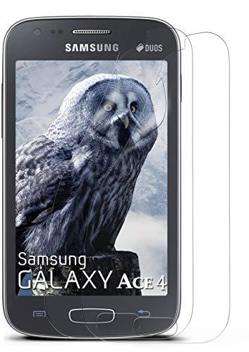 moex Klare Schutzfolie kompatibel mit Samsung Galaxy Ace 4 - Bildschirmfolie kristallklar, HD Bildschirmschutz, dünne Kratzfeste Folie, 2X Stück